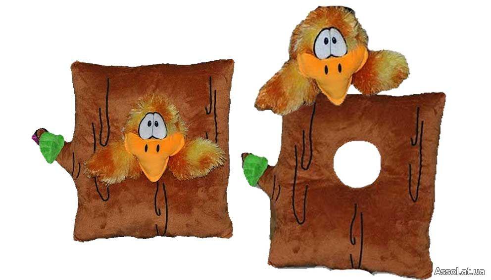 корпоративная мягкая игрушка, подушка в авто, подушка-игрушка, подушка для путешествий, эргономичная подушка, сувенирная подушка, корпоративная подушка, дрозд, дупло, птичка